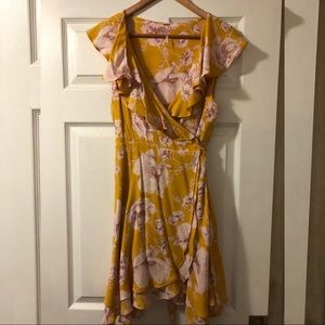 Free People yellow floral wrap dress